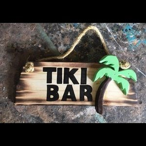 Solid wood hand made tiki bar wall decor sign